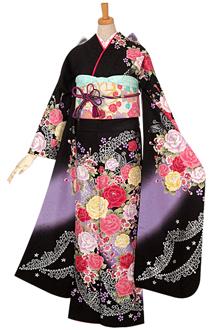R736 【訳あり】黒 薔薇とティアラ☆(絹)