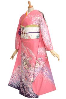 R745 【訳あり】ピンク 雪輪と菊桜吹雪☆(R243)(絹)