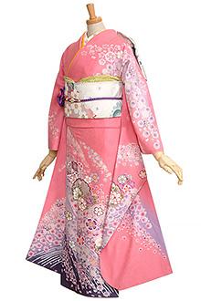 R747 ピンク 雪輪と菊桜吹雪(ラメなし)☆(絹)(S)