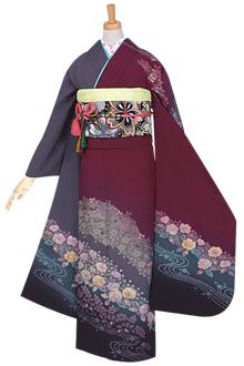 R750 紫 桜道長に流水☆(絹)(宅)