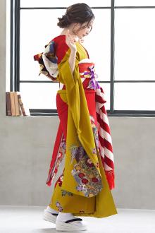 R763 金茶×赤 菊牡丹に流水☆(絹)(宅)