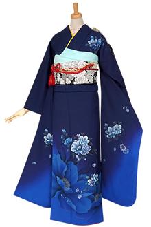 R769 紺藍 牡丹桜にマーガレット☆(絹)(宅)