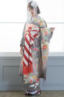 R788 グレー 地紙に四季花☆(絹)