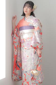 R794 ピンク 絞り 梅と牡丹☆(S)(絹)
