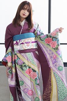 R795 赤紫 絞り 唐草菊牡丹☆(絹)