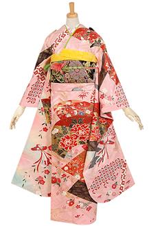 R800 【訳あり】ピンク 地紙牡丹に枝垂桜☆(絹)