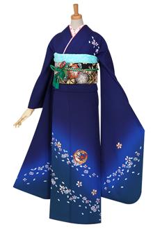R840 【訳あり】紺 刺繍 花籠☆(絹)(宅)