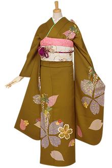 R845 金茶 金駒刺繍 桜と藤☆(絹)(宅)