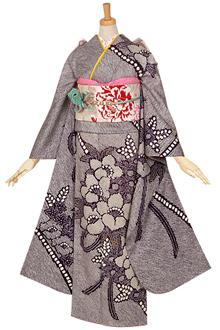 R848 【訳あり】紺 絞り 花のブーケ☆(絹)