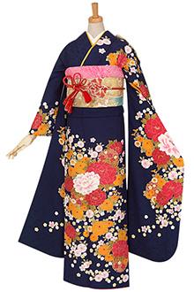 R854 【訳あり】紺 雪輪に小菊と牡丹☆(絹)(S)