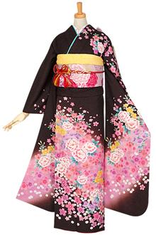 R855 茶 ピンク牡丹と花々☆(絹)