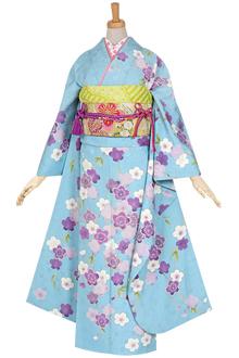 R860 水色 枝垂桜・紫☆(絹)(宅)