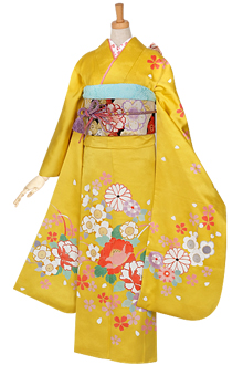 R881 黄 桜と菊牡丹☆(絹)(宅)