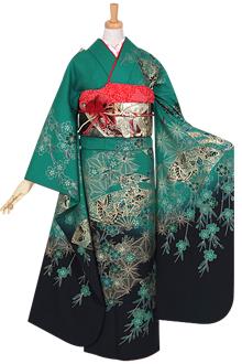 R885 緑 扇面枝垂桜☆(絹)(宅)