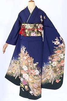 R892 【訳あり】青 御所車に四季の花(絹)(宅)