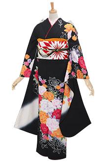 R910 黒 薔薇と桜☆(絹)