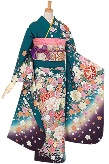 R921 【訳あり】グリーン 鞠と桜牡丹☆(絹)