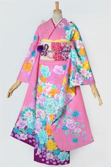 R924 ピンク 薔薇と百合のブーケ☆(絹)