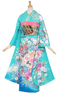 R931 【訳あり】水色 花丸紋に鞠(絹)
