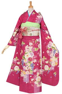 R944 【訳あり】ピンク 花紋に葡萄☆(絹)