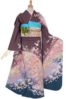 R948 薄紫 桜梅流水☆(絹)(宅)
