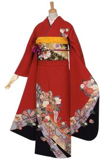 R961 赤 鼓に菊花☆(絹)