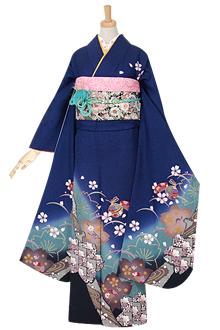 R966 【訳あり】青 市松桜☆(絹)
