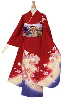 R969 赤 桜結び☆(絹)(宅)