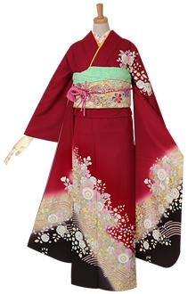 R972 赤 桜と辻が花(絹)(宅)