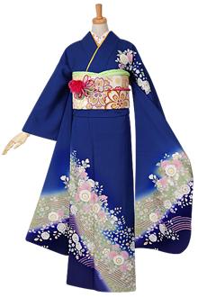 R973 【訳あり】青 桜と辻が花(絹)(宅)