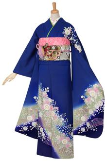 R974 【訳あり】青 桜と辻が花☆(絹)(宅)