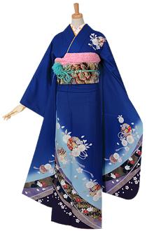 R975 【訳あり】青 桜に手まり(絹)(宅)