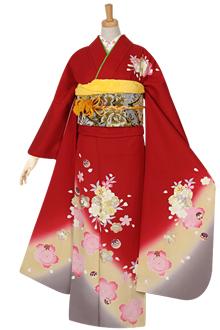 R978 赤 桜と毬(絹)(宅)