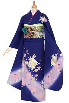 R979 青 桜と毬(絹)(宅)