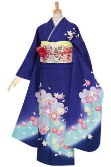 R981 【訳あり】青 桜と花文☆(絹)(宅)