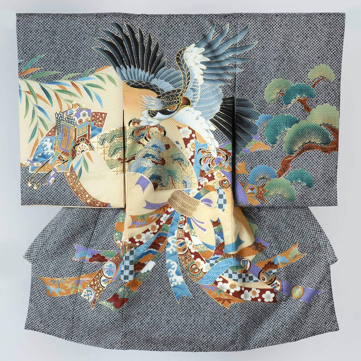 産着(男の子) | SB035 黒 疋田風見返り鷹に扇面熨斗