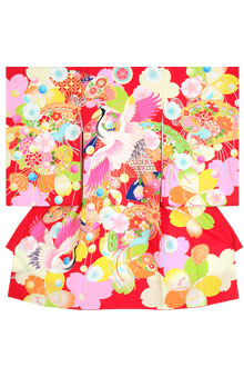 SG019 赤 桜に鶴と檜扇