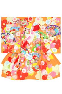 SG021 オレンジ 桜に鶴と檜扇