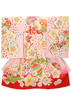 SG024 ピンク色 梅に折り鶴と毬貝桶
