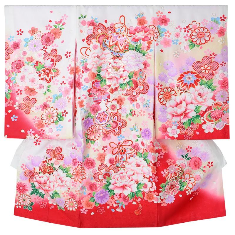 産着(女の子)  | SG030 白 牡丹・桜に手毬